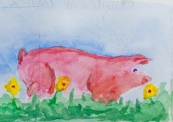 Aquarell Illustrationen: Schwein