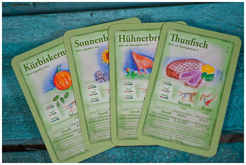 Spielkarten für Preisleistungs Trumpfspiel mit Essen